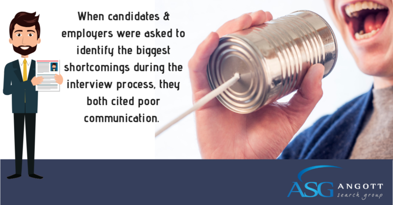 When candidates & employers were asked to identify the biggest shortcomings during the interview process, they both cited poor communication.111518